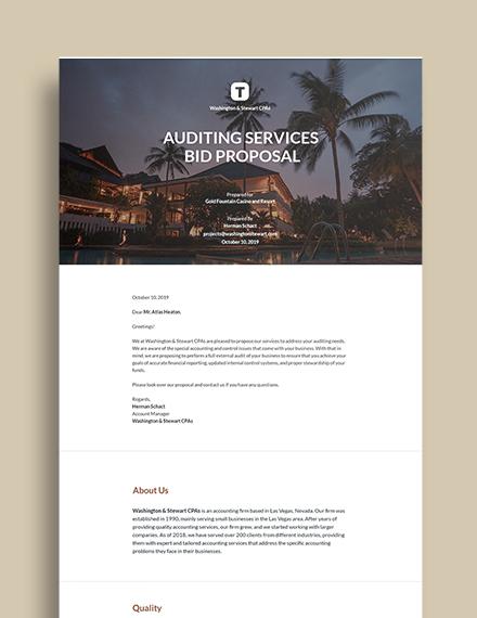 Free Printable Bid Proposal Template