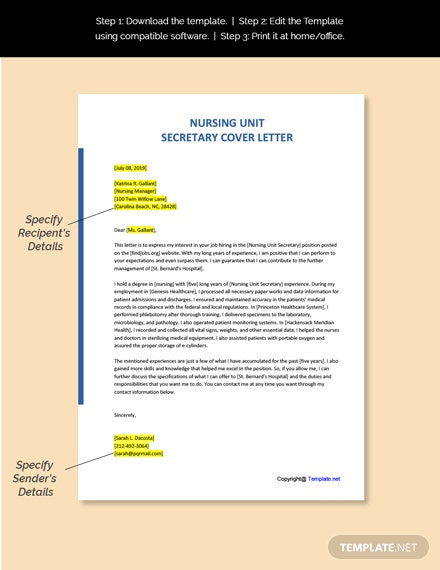 Nursing Unit Secretary Cover Letter Template