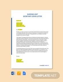 Free Nursing Unit Secretary Cover Letter Template