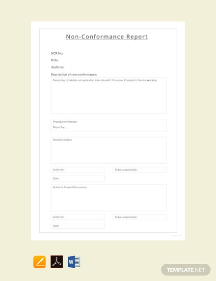 Free Non conformance Report Sample