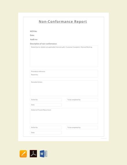 free non conformance report sample 440x570 1