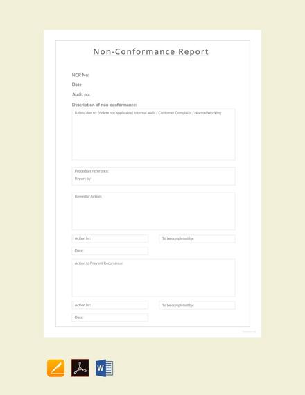Free Non conformance Report Sample