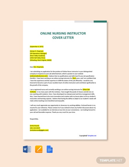 Free Online Nursing Instructor Cover Letter Template