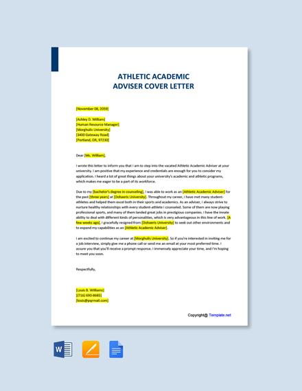 Free Athletic Academic Advisor Cover Letter Template