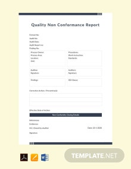 Free Quality Non conformance Report Template