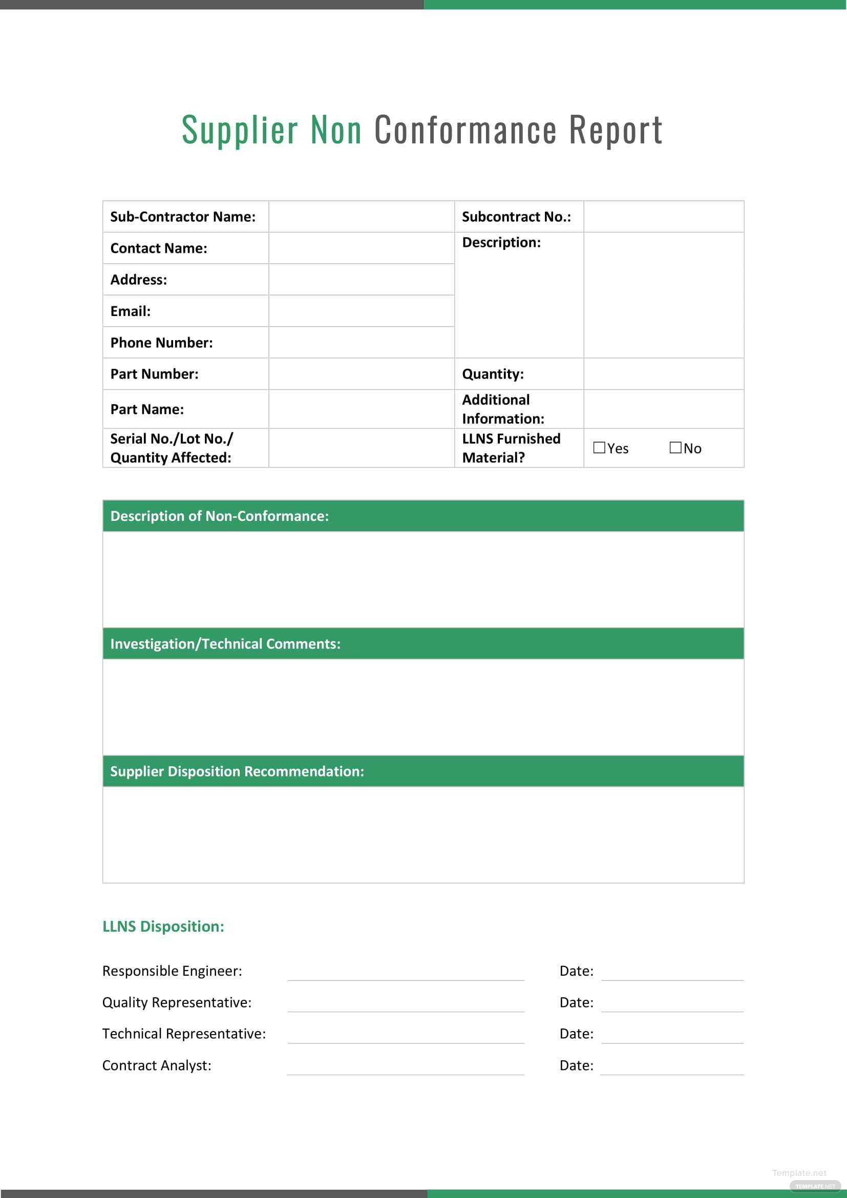 Supplier Non conformance Report Template in Microsoft Word | Template.net