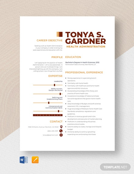 Health Administration Resume Template