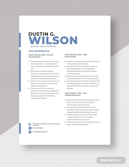 Head Waitress Resume Template