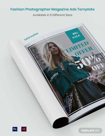 Free Fashion Photographer Magazine Ads Template