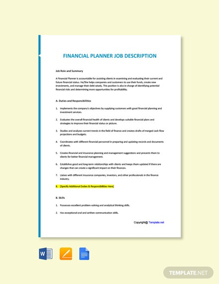 Free Financial Planner Job Ad/Description Template