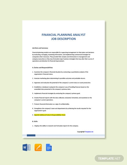 Free Financial Planning Analyst Job Ad and Description Template