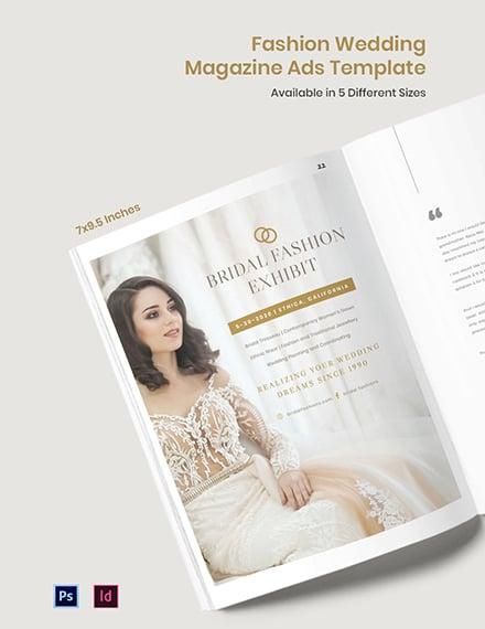 Free Fashion Wedding Magazine Ads Template
