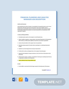 Financial Planning and Analysis Manager Job Description Template