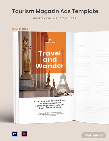 Free Tourism Magazine Ads Template