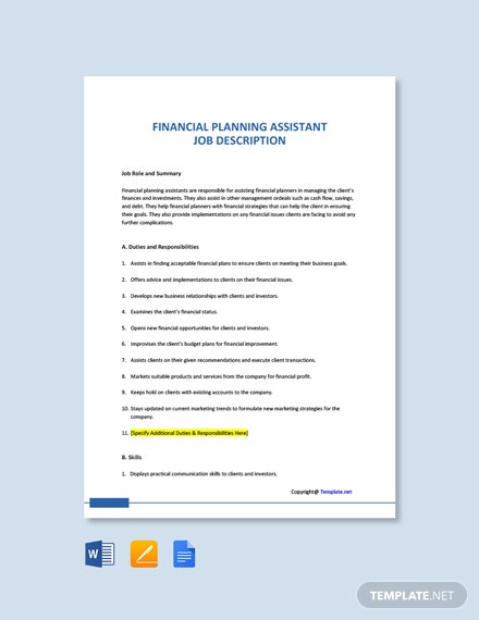 Free Financial Planning Assistant Job Description Template