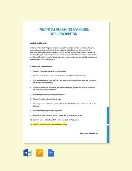 Free Financial Planning Manager Job Description Template