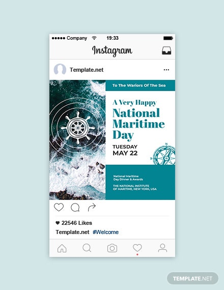 Free National Maritime Day Instagram Post Template