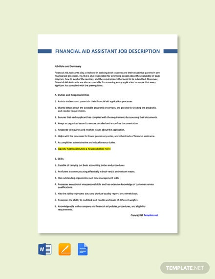 Free Financial Aid Assistant Job Description Template