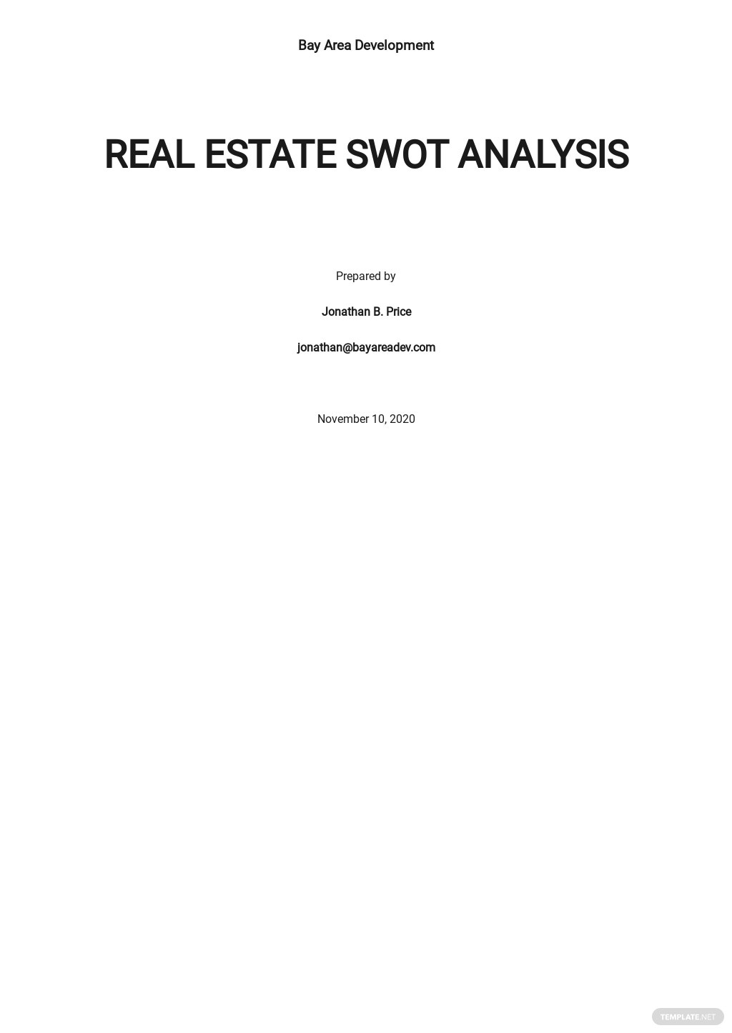 Real Estate SWOT Analysis Template
