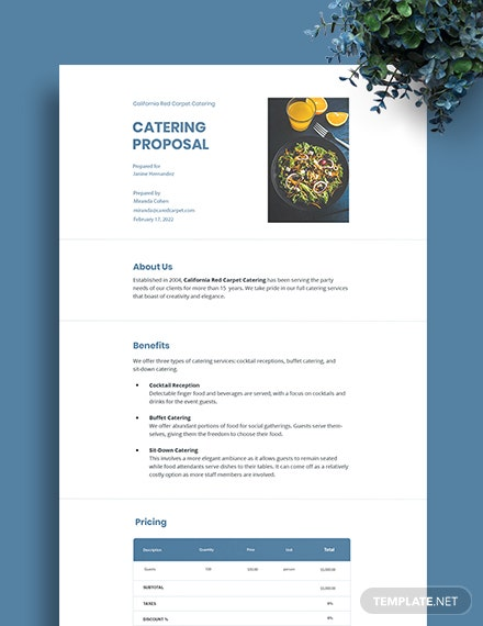 Free Sample Catering Proposal Template