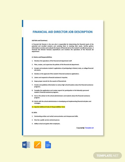 Free Financial Aid Director Job Ad/Description Template