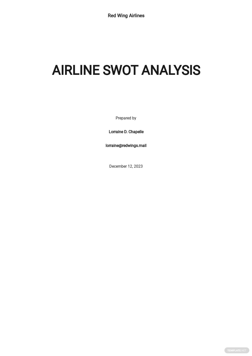 Airline SWOT Analysis Template