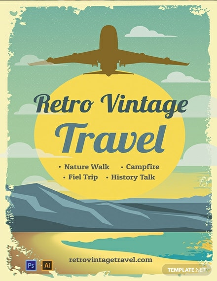 Free Retro Vintage Travel Poster Template