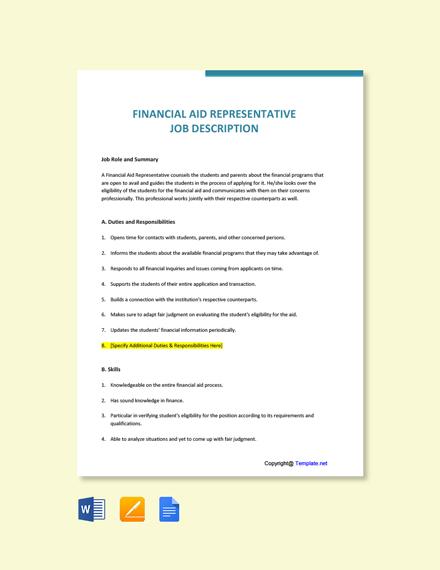 Free Financial Aid Representative Job Description Template