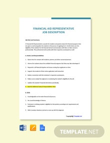 Free Financial Aid Representative Job Ad/Description Template
