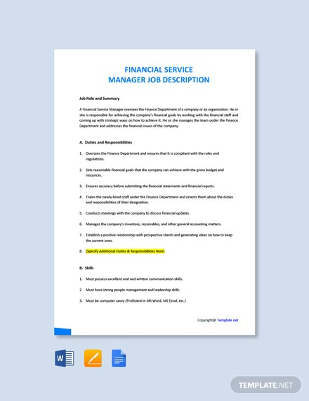 Free Financial Service Manager Job Ad/Description Template