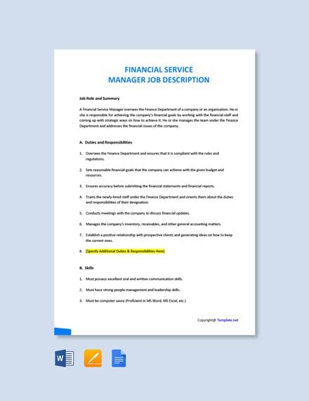 Free Financial Service Manager Job Description Template