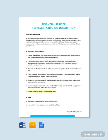 Free Financial Service Representative Job Ad/Description Template