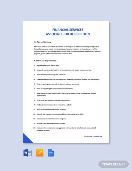 Free Financial Services Associate Job Ad/Description Template
