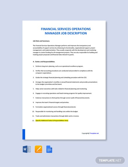 Financial Services Operations Manager Job Description