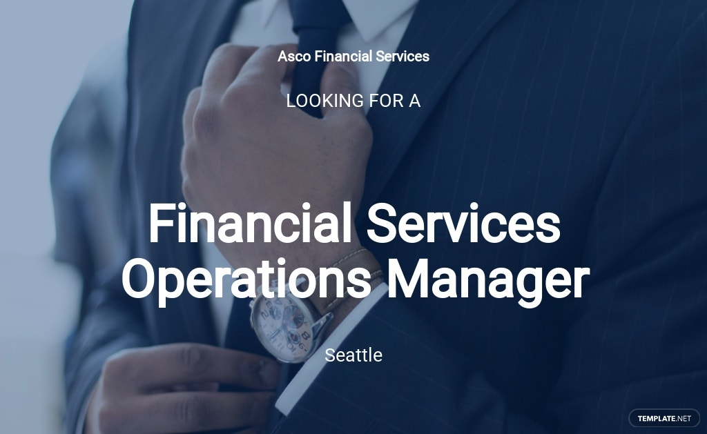 Financial Services Operations Manager Job Ad/Description Template