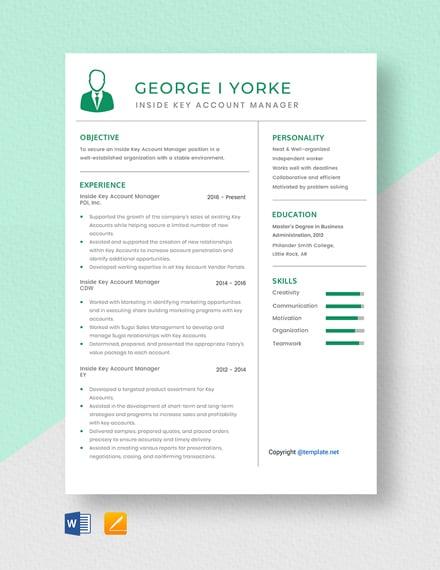 Inside Key Account Manager Resume