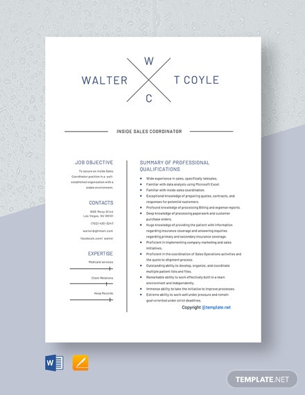 Free Inside Sales Coordinator Resume Template