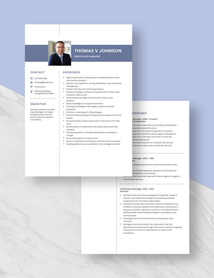Inside Sales Manager Resume Download