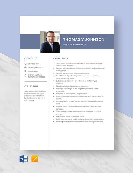 Inside Sales Manager Resume