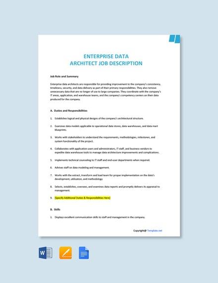 Free Enterprise Data Architect Job Description Template