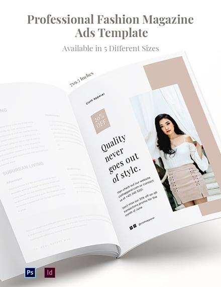Free Professional Fashion Magazine Ads Template