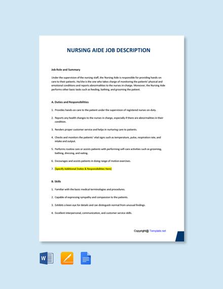 Free Nursing Aide Job Description Template
