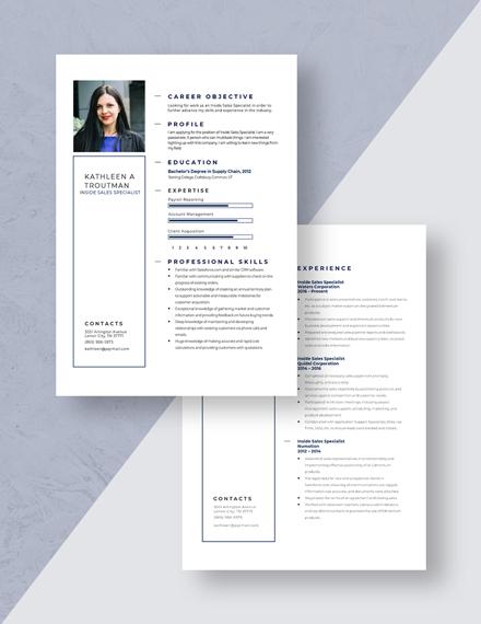 Inside Sales Specialist Resume Download