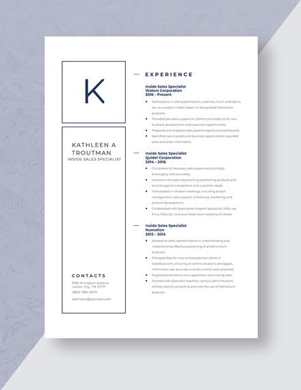 Inside Sales Specialist Resume Template