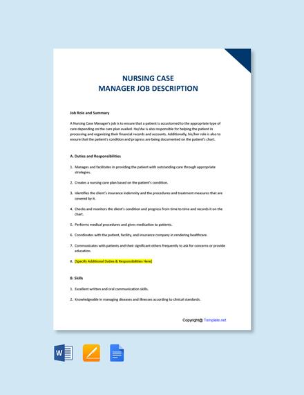 Free Nursing Case Manager Job Description Template