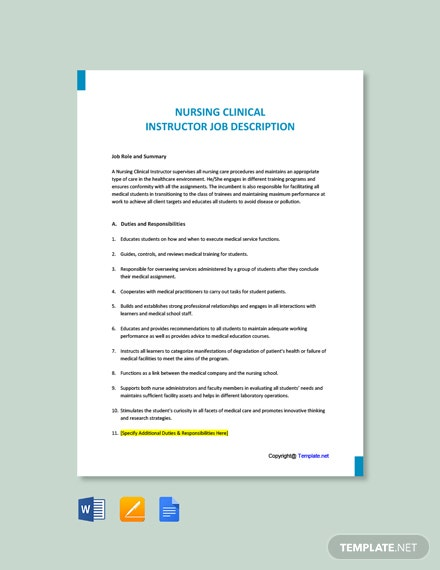 Free Nursing Clinical Instructor Job Description Template