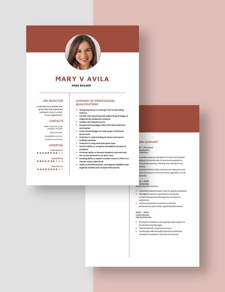 Home Builder Resume Download