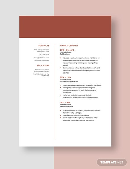 Home Builder Resume Template