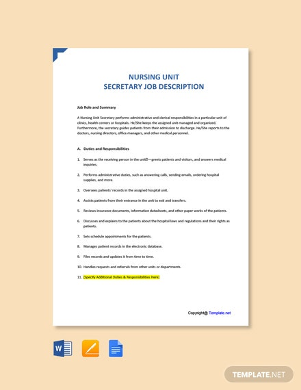 Free Nursing Unit Secretary Job Description Template