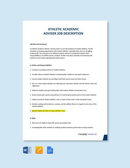 Free Athletic Academic Advisor Job Ad and Description Template